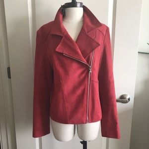 BRAND NEW Express faux Suede Jacket - Red - Large